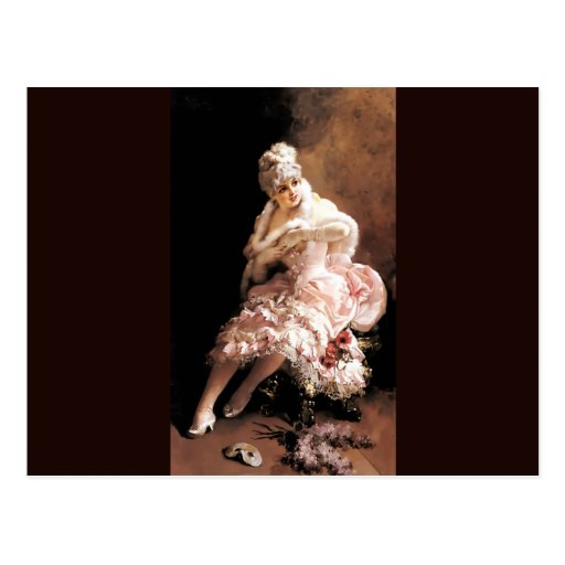 Madame victorienne avec les fleurs et la peinture  carte postale