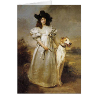 Madame victorienne Borzoi Card Carte De Vœux