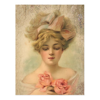 Madame victorienne classique With Roses Postcard Cartes Postales