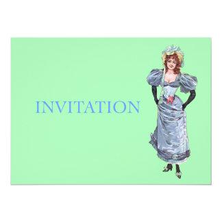 Madame victorienne dans la robe bleue - carton d'invitation  13,97 cm x 19,05 cm