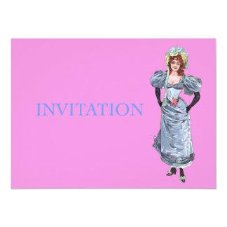 Madame victorienne dans la robe bleue - invitation personnalisée