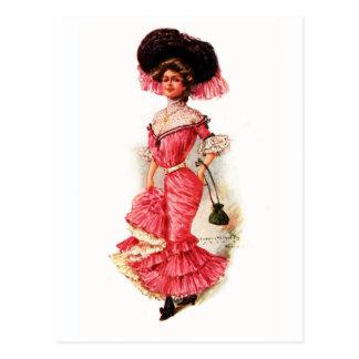 Madame victorienne dans la robe rose cartes postales