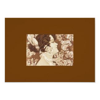 Madame victorienne d'art déco carton d'invitation  12,7 cm x 17,78 cm