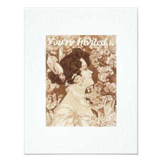 Madame victorienne d'art déco carton d'invitation 10,79 cm x 13,97 cm