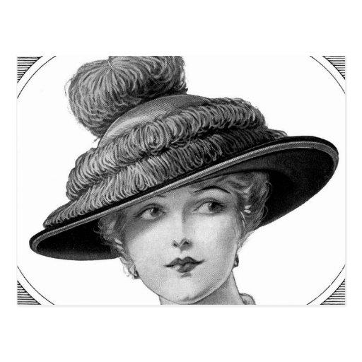 Madame victorienne de chapeau carte postale
