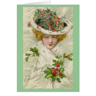 Madame victorienne de Noël tenant un brin de houx Carte De Vœux