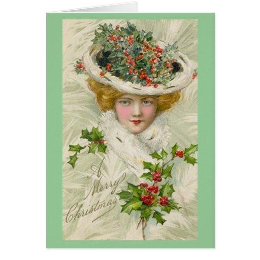 Madame victorienne de Noël tenant un brin de houx Cartes De Vœux