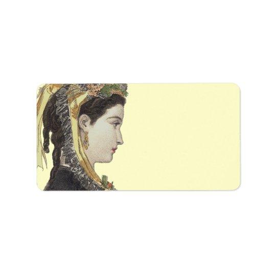 Madame victorienne élégante à l'arrière-plan de étiquettes d'adresse