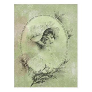 Madame victorienne en carte postale de vert de