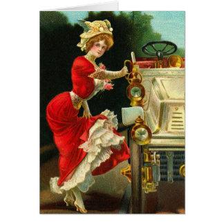Madame victorienne et son automobile carte de correspondance
