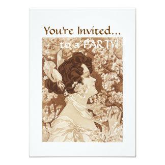 Madame victorienne carton d'invitation  12,7 cm x 17,78 cm