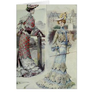 Madame victorienne - robe bleue de mode française carte de vœux