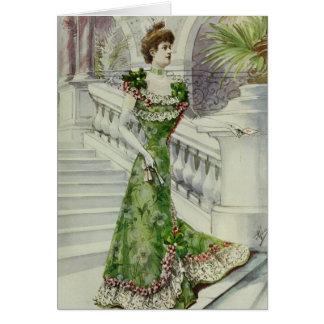 Madame victorienne - robe Mode-Verte française Cartes De Vœux
