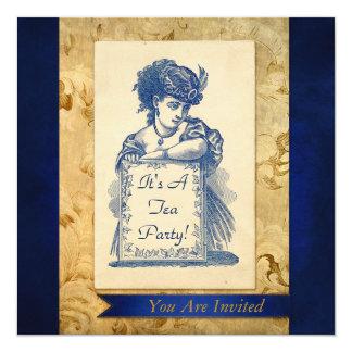 Madame victorienne vintage avec la carte carton d'invitation  13,33 cm