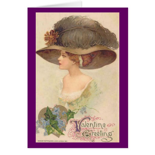 Madame victorienne vintage dans le chapeau Valenti Cartes De Vœux