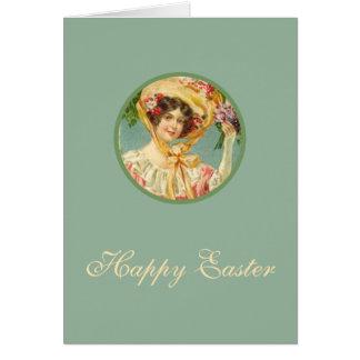 Madame victorienne vintage de carte de Pâques