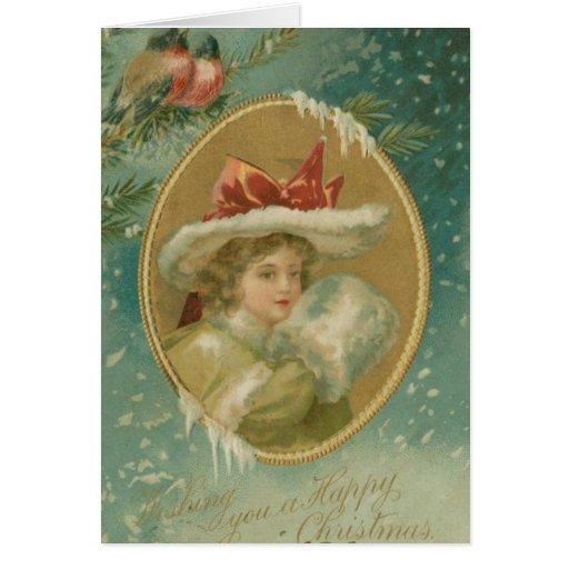 Madame victorienne vintage de Noël Carte De Vœux