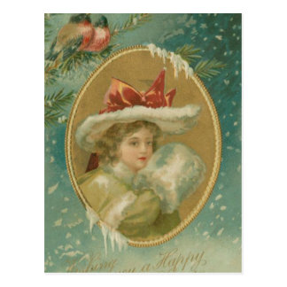 Madame victorienne vintage de Noël Carte Postale