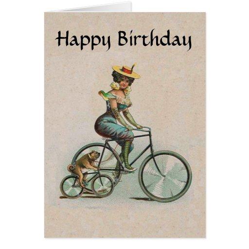 Madame victorienne vintage Dog Bicycle Birthday Carte De Vœux