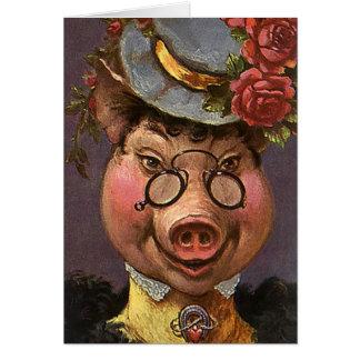 Madame victorienne vintage Pig, idiot, drôle, Cartes De Vœux