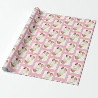 Madame victorienne w/Dog et papier d'emballage de Papier Cadeau Noël