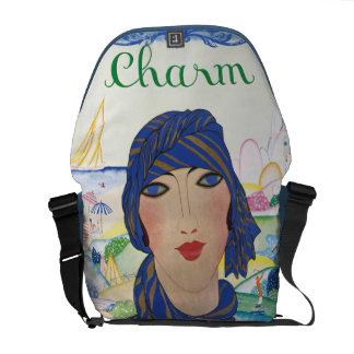 Madame vintage avec du charme d'art déco besaces