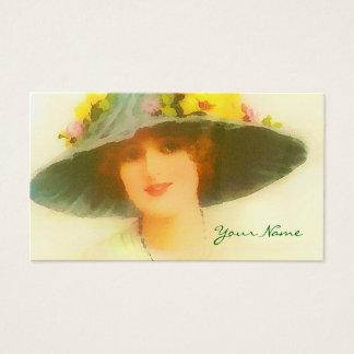 Madame vintage avec le casquette de ressort cartes de visite