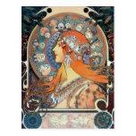 Madame vintage d'art d'art déco de femme de zodiaq cartes postales