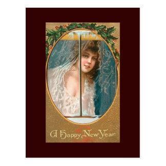 Madame vintage de cartes postales de bonne année