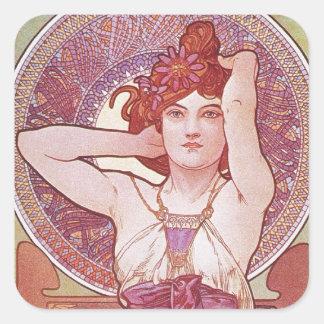 Madame Vintage de Nouveau d art d améthyste d Alph Autocollant