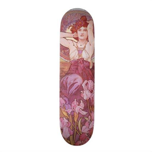 Madame Vintage de Nouveau d'art d'améthyste d'Alph Skateoard Personnalisé