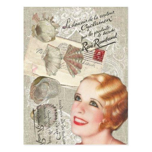madame vintage fashion de paris de coquillage shab carte postale zazzle. Black Bedroom Furniture Sets. Home Design Ideas