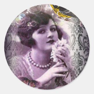 Madame vintage Flapper Girl Paris des années 1920 Sticker Rond