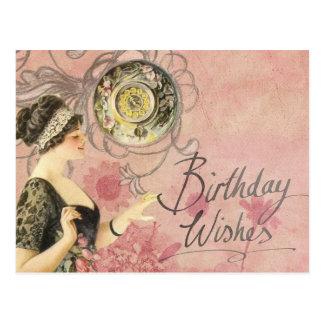 Madame vintage joyeux anniversaire carte postale