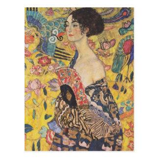 Madame With Fan Postcard de Gustav Klimt Carte Postale