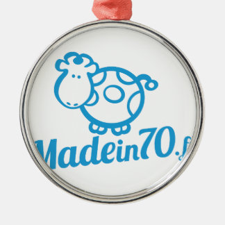 Made in 70 ornement rond argenté