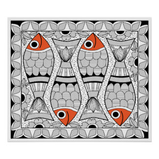 Madhubani 4 poissons affiches