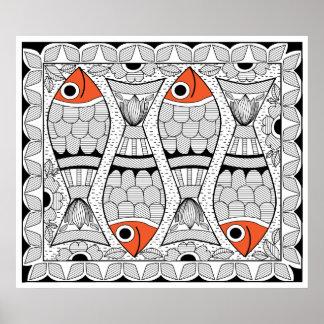 Madhubani 4 poissons poster