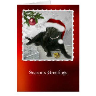 Madison la carte de Noël noire de Labrador