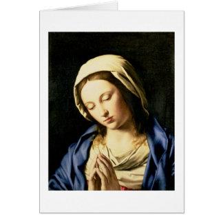 Madonna à la prière (huile sur la toile) carte de vœux