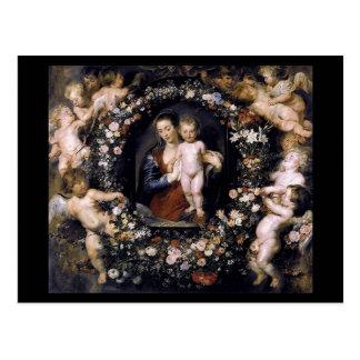 Madonna avec l'enfant par la carte postale de