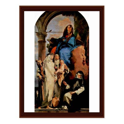 Madonna avec St Rosa de St Catherine Carte Postale