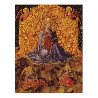 Madonna de l'humilité avec l'enfant et les anges carte postale