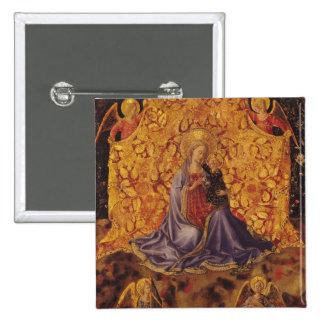 Madonna de l'humilité avec l'enfant et les anges d badge carré 5 cm