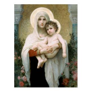 Madonna de Noël de roses Carte Postale