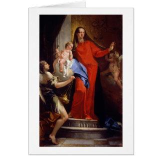 Madonna du chapelet (huile sur la toile) carte de vœux