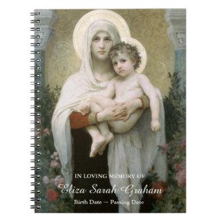 Madonna du livre d'invité commémoratif funèbre de carnets à spirale