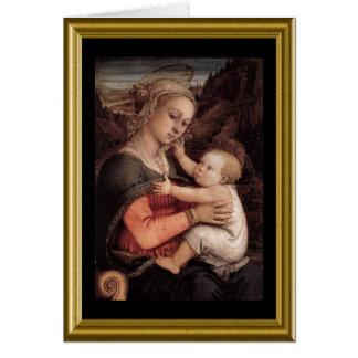 Madonna et carte de Noël d'enfant