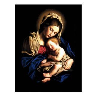 Madonna et carte postale de coutume d'enfant