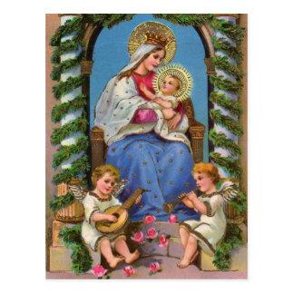 Madonna et carte postale de vacances de Noël d'enf